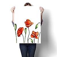 ホームデコレーション用の絵、無地の背景にハイビスカスの花、装飾的な花柄、カントリースタイル、ピンク、ホワイトペイント、キャンバスアートポスタープリントウォールアート、(フレームなし) 12 x 20inch(30x50cm)/1pc