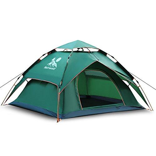 ワンタッチテント 3~4人用, Hotwolf 2層材料 設営簡単 折りたたみ 防水 防風 UVカット通気 アウトドアキャンプ用品