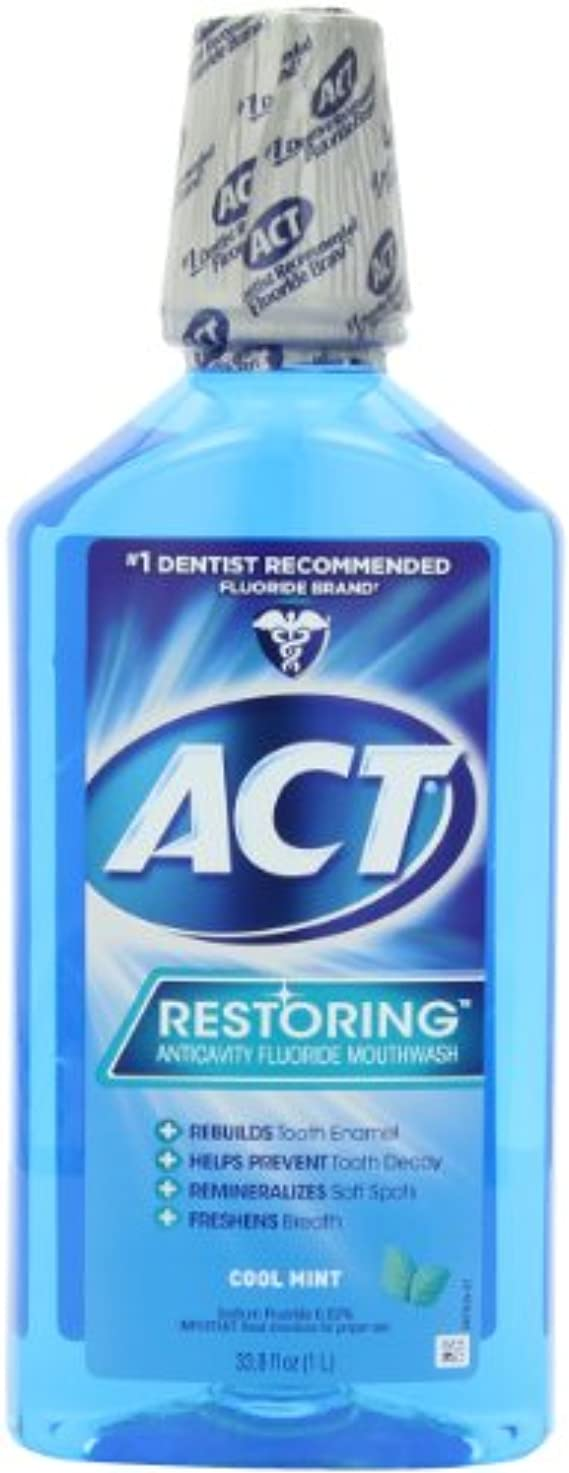 ピストル航空便ドレインChattem ACT Restoring Anticavity Flouride Mouthwash Cool Splash Mint 33.8 fl.oz ?????