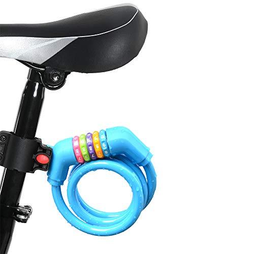 自転車ロック ワイヤー ダイヤルロック 5桁ダイヤル式 自由設定 ブラケット付き 携帯便利 頑丈 盗難防止に