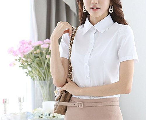 fashiondays 半袖 シャツ ブラウス ワイシャツ レディース (S, 白)
