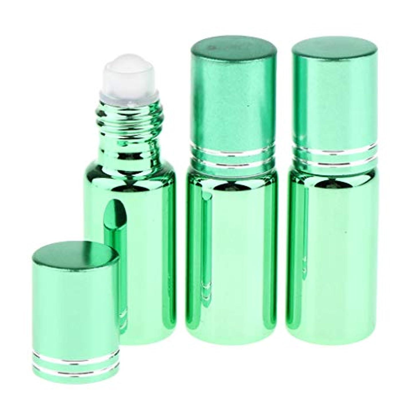 北米球状恥SM SunniMix 詰め替え容器 ロールオンボトル アロマオイル エッセンシャルオイル容器 通勤/旅行/出張対策可能 全6色 - 緑