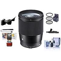 Sigma 16mm f / 1.4DC DN Contemporaryレンズfor Sony・Eマウントカメラ、ブラック–Bundle with 67mmフィルタキット、Flexレンズシェード、クリーニングキット、Capleash II、Lenspenレンズクリーナー、PCソフトウェアパッケージ
