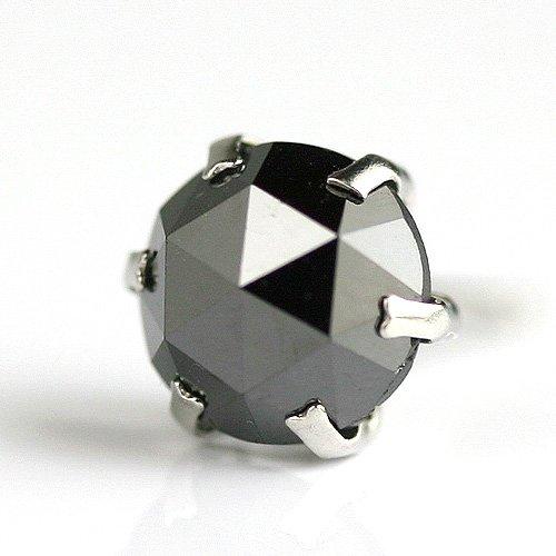 【 DIAMOND WORLD 】レディース ジュエリー PT900 ローズカット ブラックダイヤモンド ピアス 1.0ct 片耳ピアス 6本爪タイプ