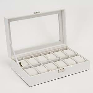 [タイムキング] TimeKing 時計収納ケース カギ付き 12本用 クロコダイル型押し (白)