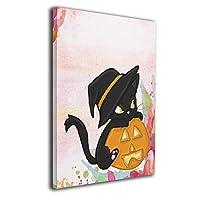 ハロウィン カボチャ 黒猫 壁の絵 風景画 キャンバス絵画 絵 リビング お祝いやプレゼントに 額縁付き 絵画 軽くて取り付けやすい (40x50cm)