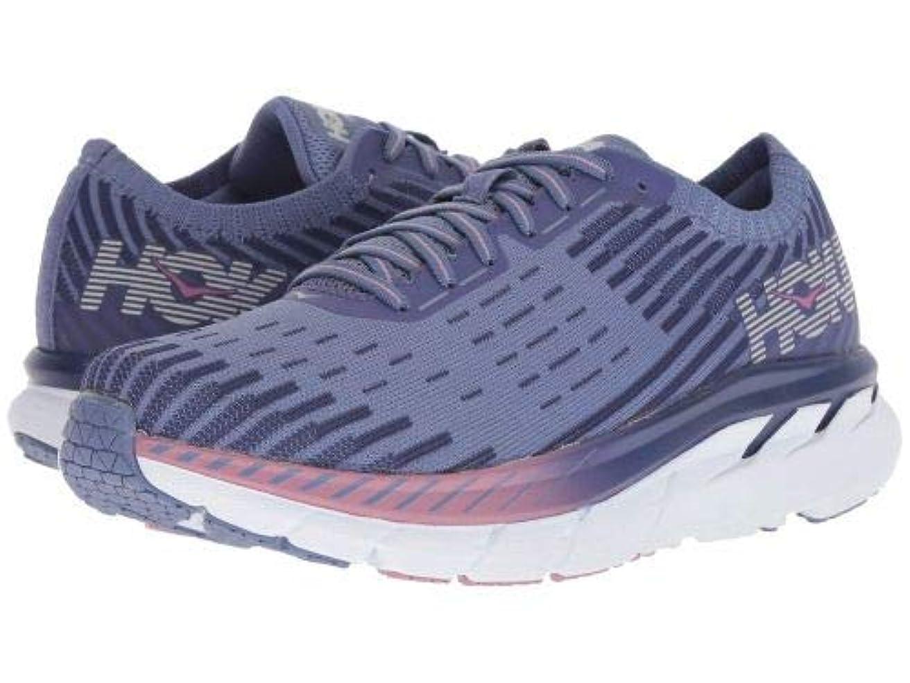 クラッシュよろしく船乗りHoka One One(ホカオネオネ) レディース 女性用 シューズ 靴 スニーカー 運動靴 Clifton 5 Knit - Marlin/Blue Ribbon [並行輸入品]