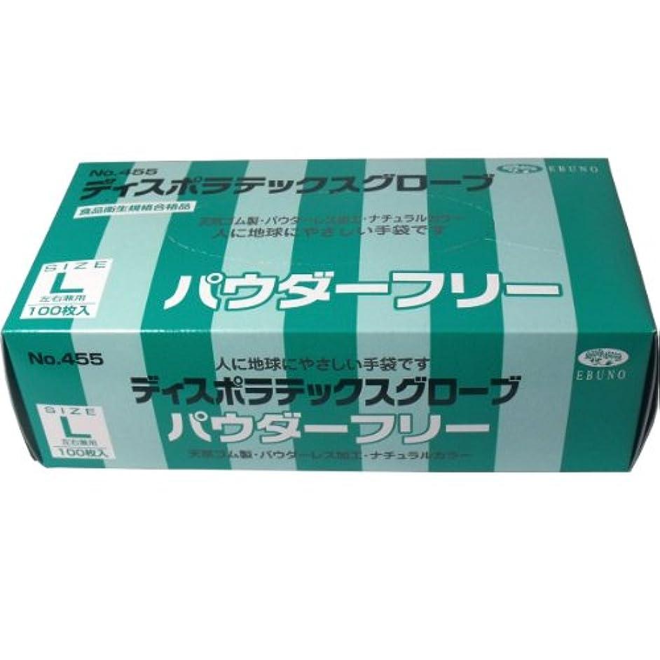 標準ライム繊細エブノ ディスポラテックスグローブ No.455 パウダーフリー L 100枚入
