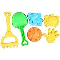 elegantstunning カラフルなビーチのおもちゃセット 6本の子供の 1つのペール 1つのレーキ 1つのディッパーと3つの金網でメッシュバッグ