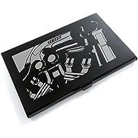 ブラックアルマイト「ヤマハ(YAMAHA) V MAX エンジン 」切り絵デザインのカードケース[BC-010]