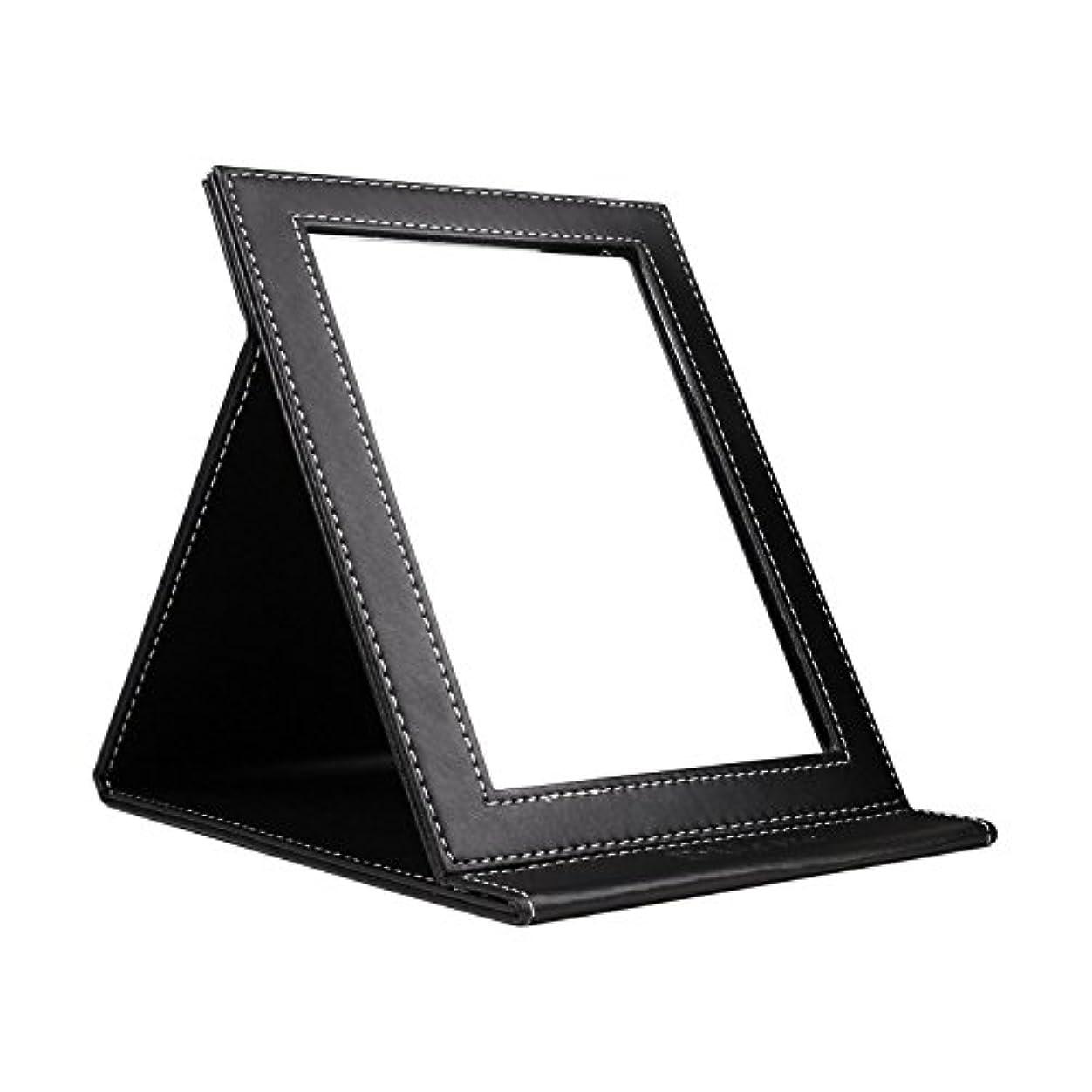 リーフレット休戦メジャーDUcare ドゥケア 化粧鏡 スタンドミラー 折りたたみ式 角度調整自由自在 上質PUレザー使用