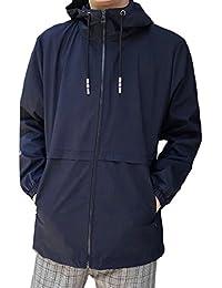 Keaac メンズ軽量ウインドブレーカーロングスリーブスポーツフード付きジャケット
