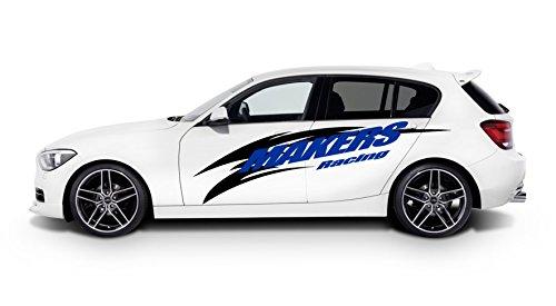 MAKERS RACING!車ボディに貼るだけ簡単なステッカー 青&黒 カッティングステッカー