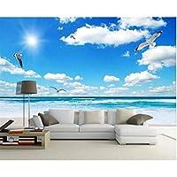 Xbwy カスタムウォール壁画壁紙青空白い雲サンシャインビーチモルディブシービューテレビの背景写真壁紙壁紙壁画3D-350X250Cm