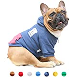 iChoue Pets Dog Clothes Hoodie Hooded English Bulldog Boston Terrier Pullover Sweatshirt Cotton Winter Warm Coat Clothing - Navy/Size XL
