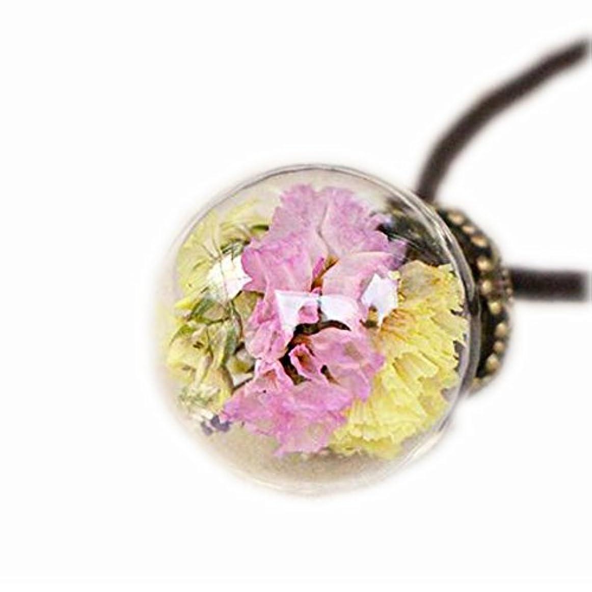とらえどころのない氏図美しい乾燥した花のペンダントネックレスセーターの装飾品