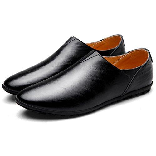 [AMANGU] ビジネスシューズ メンズ 黒 白 スリッポン モカシン 革靴 ウォーキング ブラウン ローカット はきやすい 通勤用 柔軟性 屈曲性 耐久性 防滑 24cm-28cm