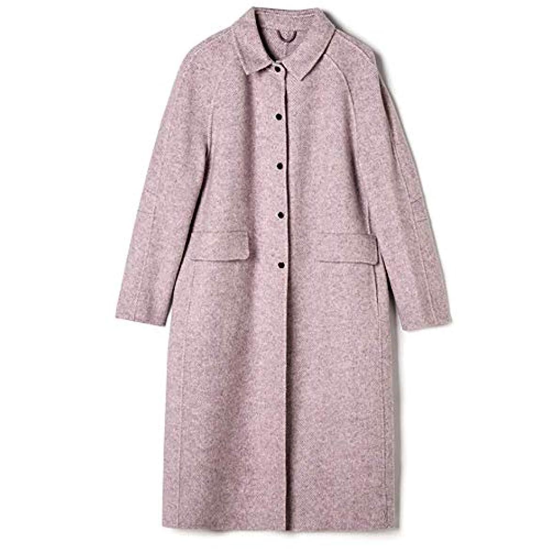 忘れっぽい受け入れる規制するロングウールコート、2019秋と冬の新しいヘリンボーンパターン両面カシミヤコート女性のスリムロングウールコート,B,S