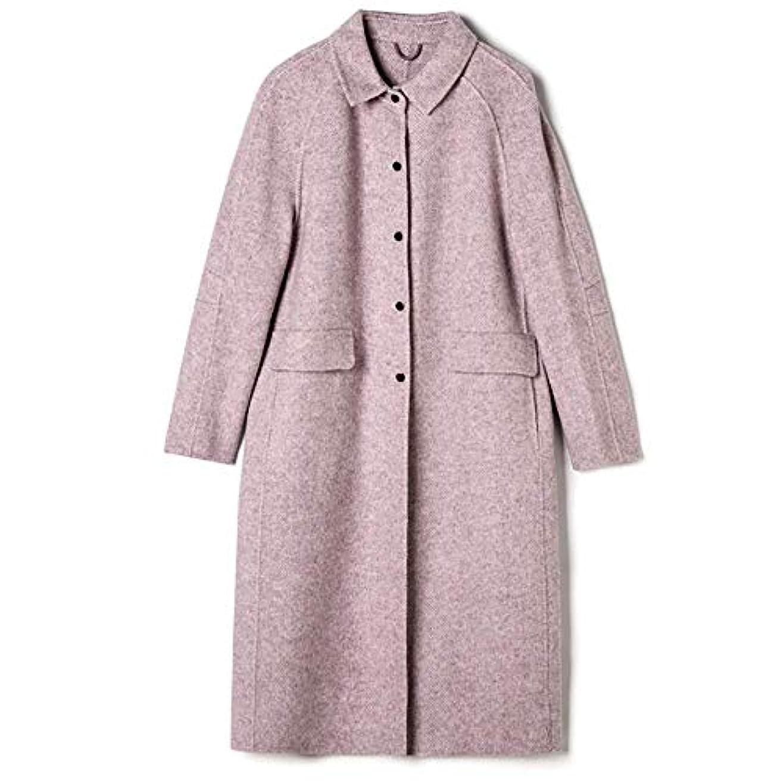 敬の念中庭重量ロングウールコート、2019秋と冬の新しいヘリンボーンパターン両面カシミヤコート女性のスリムロングウールコート,B,S