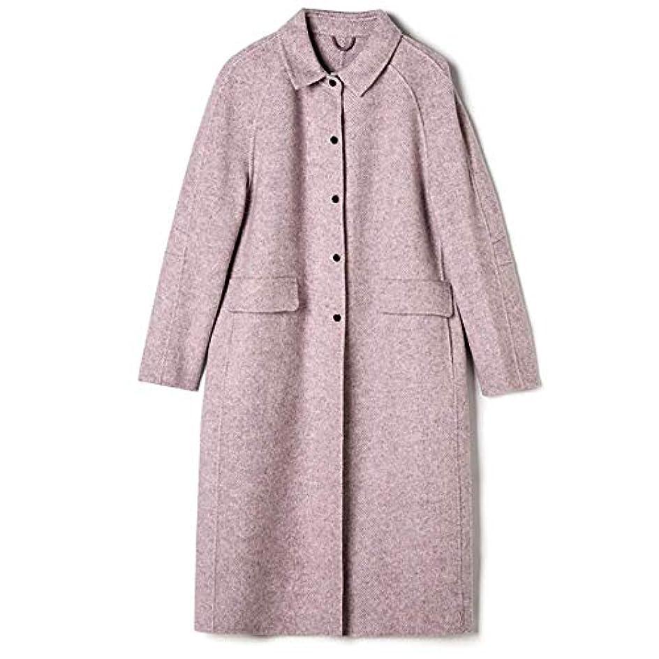 パンツモードハイブリッドロングウールコート、2019秋と冬の新しいヘリンボーンパターン両面カシミヤコート女性のスリムロングウールコート,B,S
