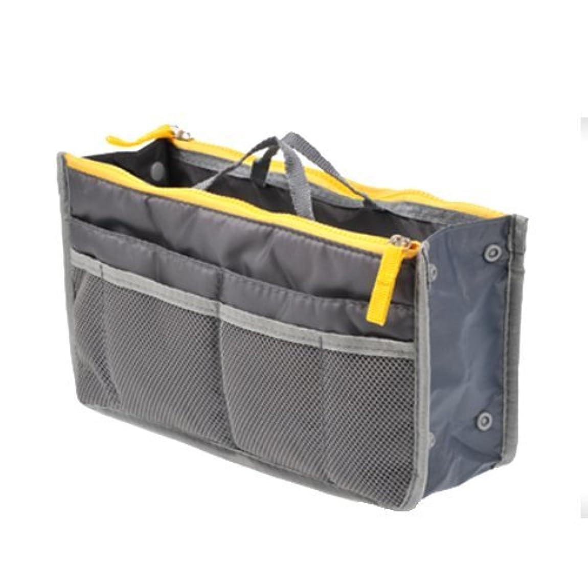 気体の誤解苗TENDOC 高品質 バッグでバッグを簡単収納 お財布 携帯などの必需品から手帳やペンもピッタリサイズ グレー