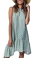 AngelSpace 女性のフライアウェイノースリーブ水玉ドットFalbalaミッドドレス Green 2XL