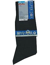 (スーパーソックス) SUPER SOX メンズ リブ編み クルー丈 ソックス 24-26cm/26-28cm
