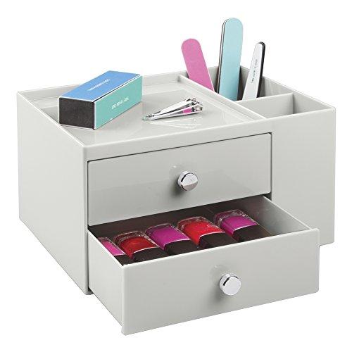 InterDesign 化粧品 小物 収納ボックス 2段 引き出し付き オーガナイザー ライトグレイ 39266EJ