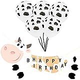 誕生日 飾り付け 乳牛 ブラック ホワイト 男の子 女の子 子供 面白い 動物 happy birthday バナー ガーランド バルーン 風船 6枚セット