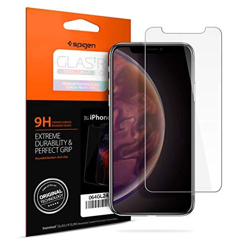 【Spigen】 iPhone XR ガラスフィルム 薄さ0.4mm 強化ガラス 液晶保護フィルム 高透過率 液晶パネル 保護 3DTouch Face ID 対応 064GL24527 (GLAS.tR SLIM (1枚入))