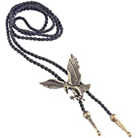 Baosity Fashion Vintage American Eagle Bolo Tie Pendant Necklace Mens Biker Jewelry
