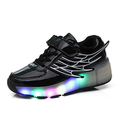 XIDISO 光る靴 子供 LEDスニーカー ローラーシューズ キッズ マジックテープ 羽根 フラッ...