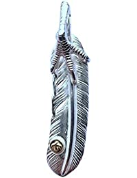 シルバー925 インディアンジュエリー 特大フェザー 右 銀鷹爪 SVツメ 小メタル付き 羽根 ネックレス ペンダント