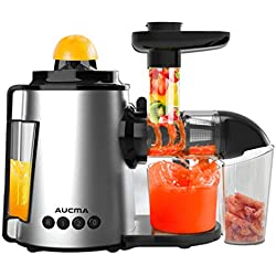 AUCMA Slow Juicer Masticating Cold Press Juice with Citrus Juicer Fruit Vegetable Extractor Procesor 150W 90 RPM