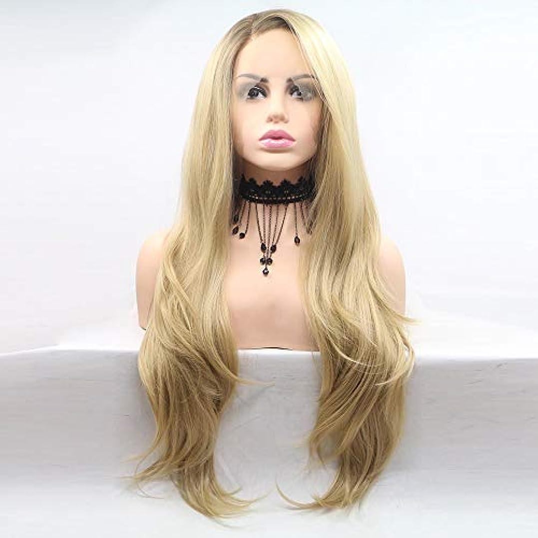 花瓶芝生バンカーヘアピース 女性向けウィッグ化学繊維の真ん中にあるヨーロッパとアメリカのウィッグセットウィッグヘアセット-サイドポイント-長い巻き毛-イエロー