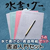 水書きグー(書道入門5点セット) 【水で書いて、乾けば消える。墨のいらない書道】