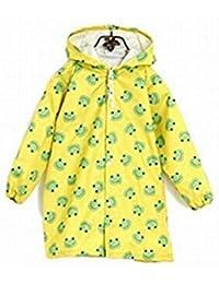 子供 こども レインコート ポンチョ キッズ 男の子 女の子 雨 雪 対応 雨具 (カエル 黄色)