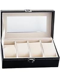HooMall ブラック ジュエリー&ウォッチ 4本用 腕時計収納ケース 腕時計収納ボックス レザー調 透明窓 コレクション 収納 観賞用