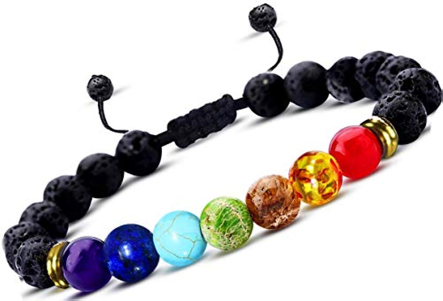 仕方イデオロギーポジティブEssential Oil Diffuser bracelet- 7チャクラLava Stone bracelet-アロマセラピーChakra bracelet- Just Add Oil to Lava Stones