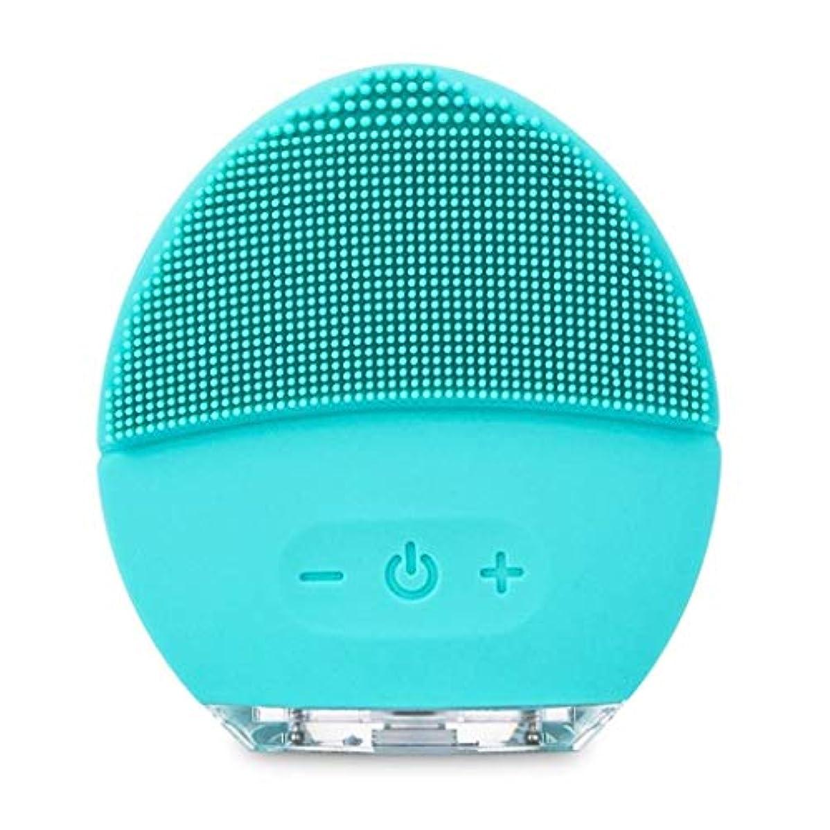 誕生おっと排気フェイシャルクリーニングブラシ、充電式防水アンチエイジングスキンクリーナー、フェイシャルマッサージ、電気シリコーンディープエクスフォリエーションメイクアップツール、あらゆる肌タイプに対応 (Color : Blue)