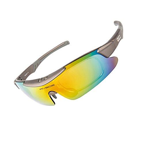 RIVBOS(リバッズ)RBK839 偏光 スポーツ サイクリングサングラス 5色ポリカーボネートレンズ付き ランニング メガネ メンズ レディース スポーツ サングラス (グレー)