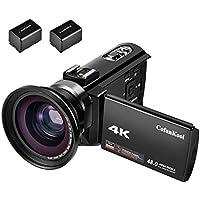 CofunKool 4Kビデオカメラ wifi 48MP 16倍デジタルズーム デジタルカメラ USBケーブル 3.0インチタッチIPSディスプレイ WIFI機能 HDMI出力 270度回転スクリーン マクロ/ワイドレンズが付き バッテリー二つ付き 日本語説明書付き (カメラ+ワイドレンズ)