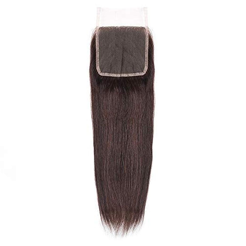 アフリカ序文終わりHOHYLLYA 絹のような長い茶色のレースの閉鎖ストレートヘアレース前頭ブラジル髪の耳に4 x 4自由な部分の人間の毛髪の女性の合成かつらレースのかつらロールプレイングかつら (色 : 黒, サイズ : 18 inch)