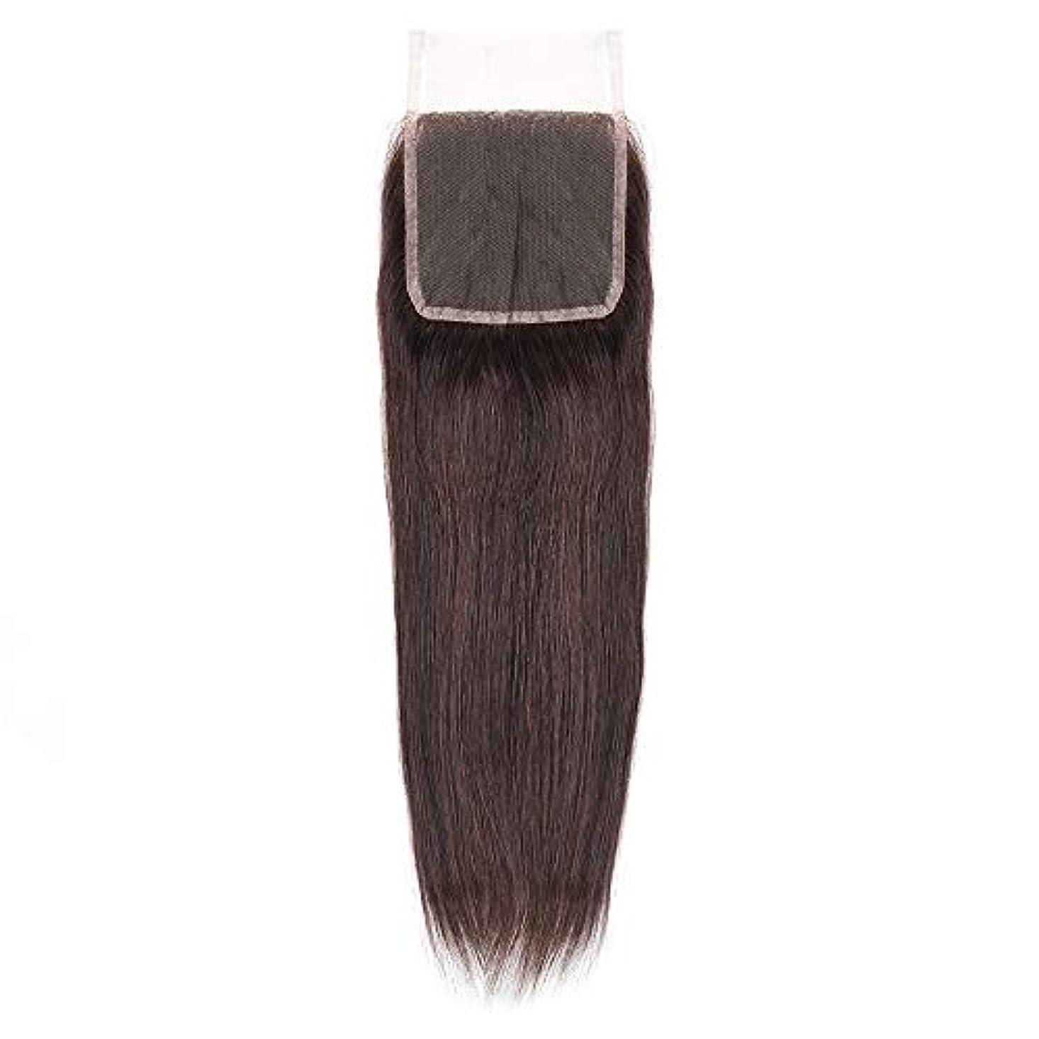 困惑したシエスタ療法HOHYLLYA 絹のような長い茶色のレースの閉鎖ストレートヘアレース前頭ブラジル髪の耳に4 x 4自由な部分の人間の毛髪の女性の合成かつらレースのかつらロールプレイングかつら (色 : 黒, サイズ : 18 inch)