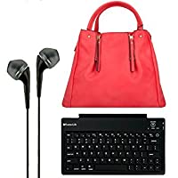 VanGoddyアリスSatchel Handbag / Purse for HTC Google Nexus 9Android 8.9-inchタブレット+ Bluetoothキーボード+ヘッドフォン( Bright Coral )
