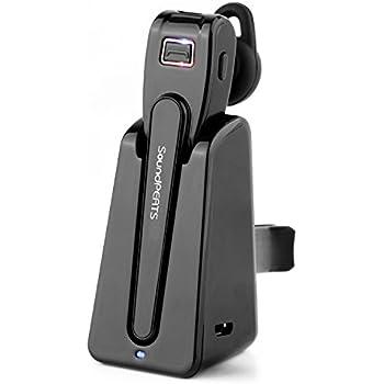 SoundPEATS サウンドピーツ Bluetooth ヘッドセット[メーカー1年保証]Bluetooth イヤホン 高音質 小型 軽量 防水/防滴 マグネット式 スタンド充電 高品質マイク搭載 ハンズフリー通話 ブルートゥース イヤホン 片耳 Bluetooth イヤホン D4 ブラック