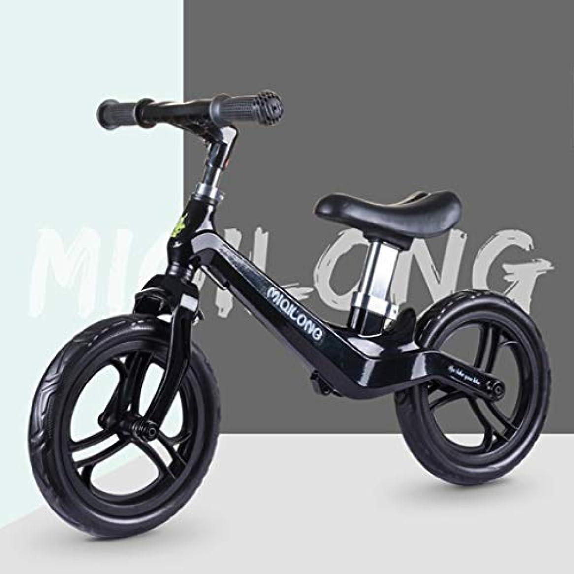 九月ファンシー作者ペダルなし自転車 バランスバイク 2-4歳のための調節可能な座席とのバランスバイク、ノーペダル幼児トレーニング自転車、マグネシウム合金ストライドバイク、 (Color : Black)