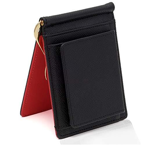 【GRAV】 マネークリップ 小銭入れ付き メンズ 財布 二つ折り (ICカードポケット 隠しポケット付き) (ブラック/レッド)