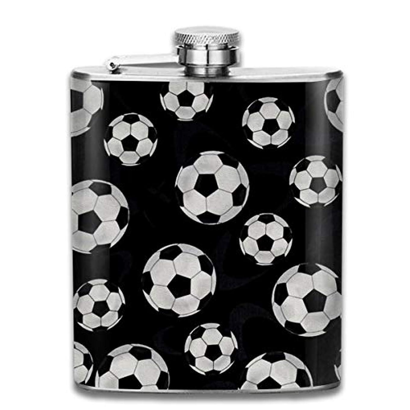 ラグで打ち上げるサッカー 花柄 フラスコ スキットル ヒップフラスコ 7オンス 206ml 高品質ステンレス製 ウイスキー アルコール 清酒 携帯 ボトル
