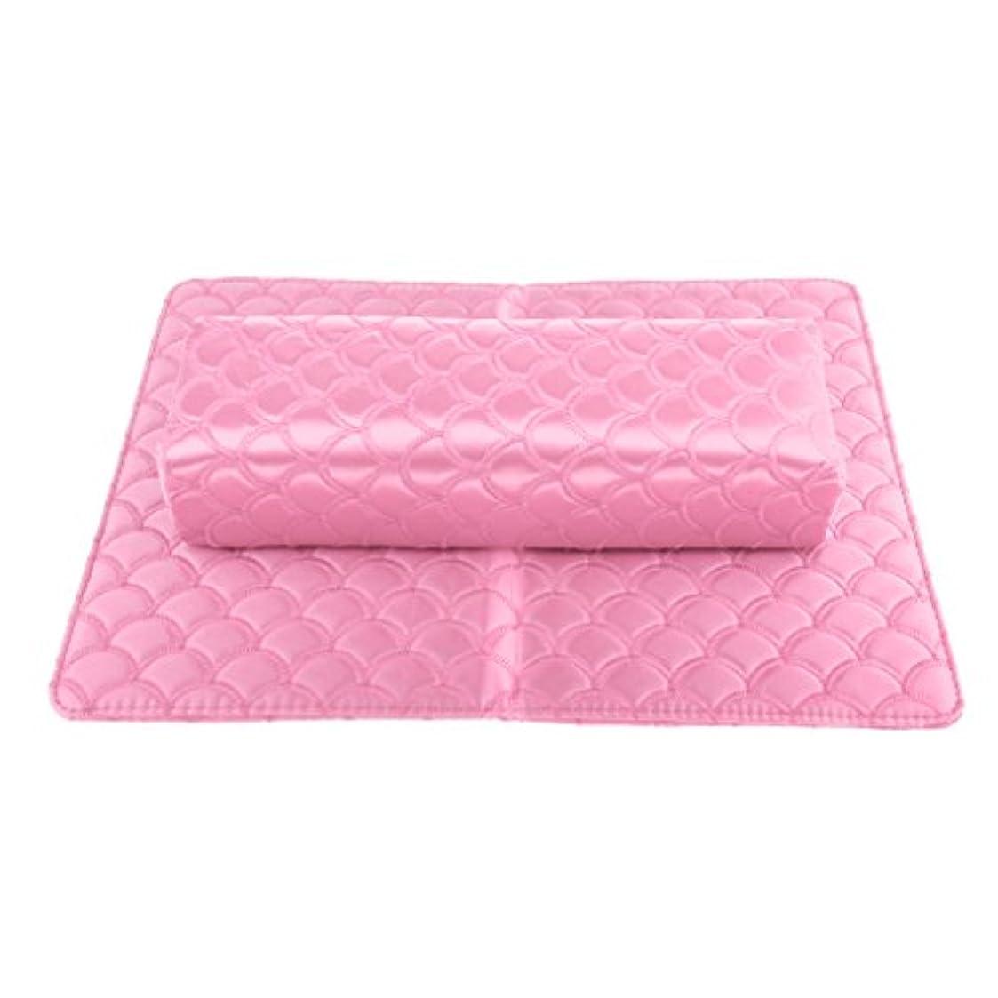 眠りピッチ潤滑するネイルピローパッド ネイルアート ハンドピロー パッド ソフト ハンドクッション マニキュア アームレストホルダー 多色選べる - ピンク